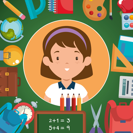 little girl with school supplies vector illustration design Illustration