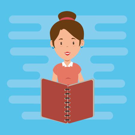 teacher female with school book vector illustration design