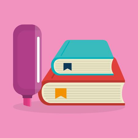 pile books with highlighter pen vector illustration design Illustration