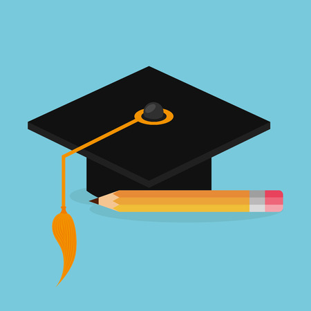 hat graduation and pencil vector illustration design Banque d'images - 109738926