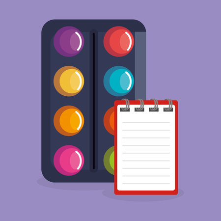 paint pallette and notebook icons vector illustration design