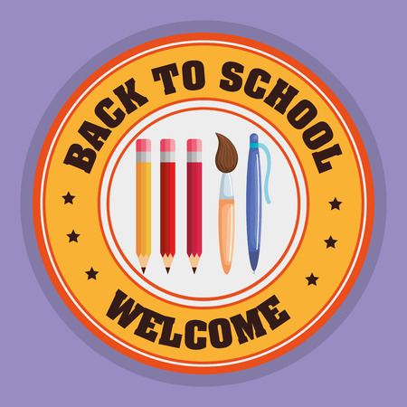 back to school seal with school supplies vector illustration design