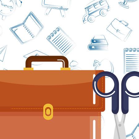 schoolbag supply with sccisors and equipment vector illustration design Ilustração