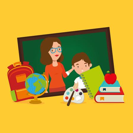 teacher female with school supplies vector illustration design