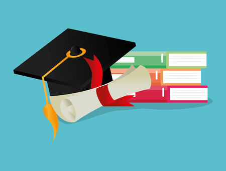 pile books with hat and diploma graduation vector illustration design Иллюстрация