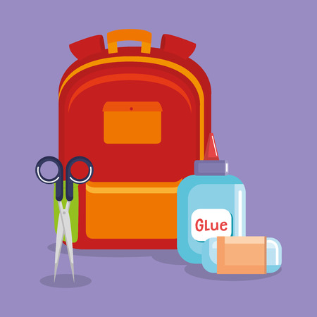 schoolbag supply with sccisors and glue bottle vector illustration design Illustration