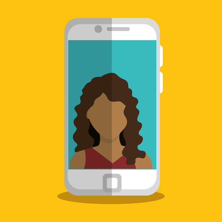 smartphone with woman character vector illustration design
