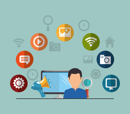 young man with social media marketing icons vector illustration design