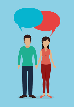 couple with speech bubble vector illustration design