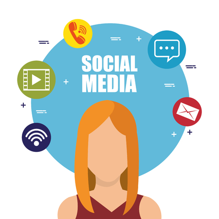 young woman with social media marketing icons vector illustration design