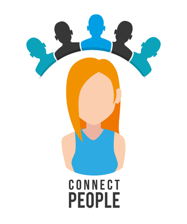 woman with connect people vector illustration design
