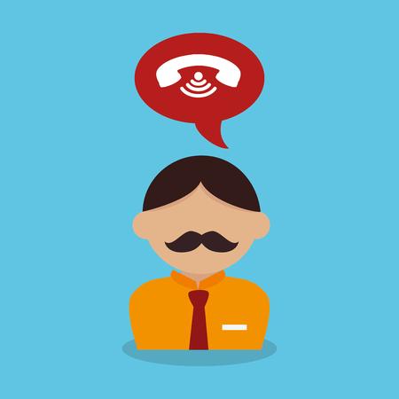 homme, à, bulle discours, et, téléphone, vecteur, illustration, conception