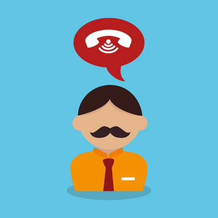 man with speech bubble and phone vector illustration design Illustration