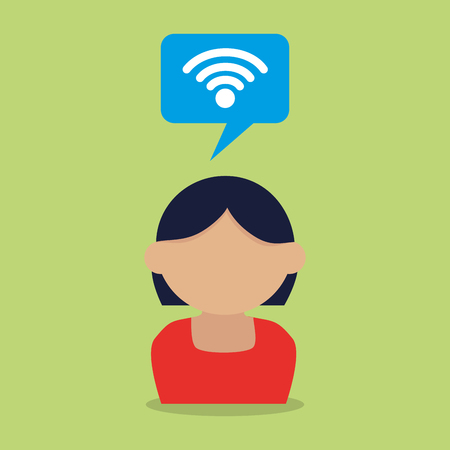 woman with speech bubble and wifi vector illustration design