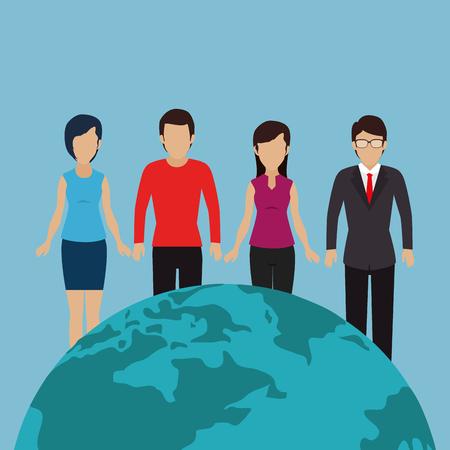 community with world planet vector illustration design
