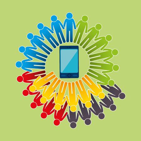Comunidad con diseño de ilustración de vector de teléfono inteligente conectado Ilustración de vector