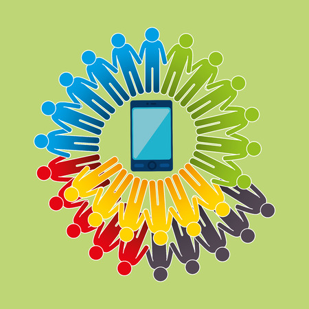 comunità con disegno di illustrazione vettoriale connesso smartphone Vettoriali
