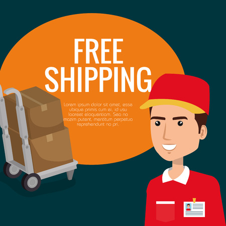 delivery service worker character vector illustration design