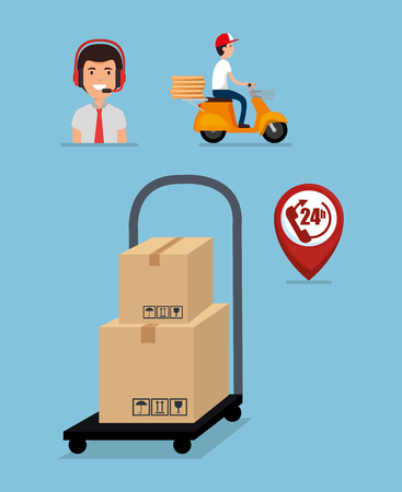 cart with delivery service icons vector illustration design