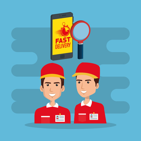 delivery service workers with smartphone vector illustration design Illustration