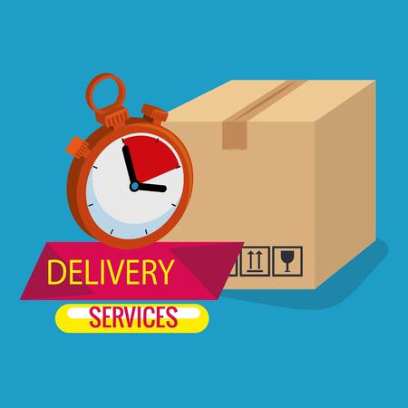 Caja con diseño de ilustración de vector de iconos de servicio de entrega Ilustración de vector
