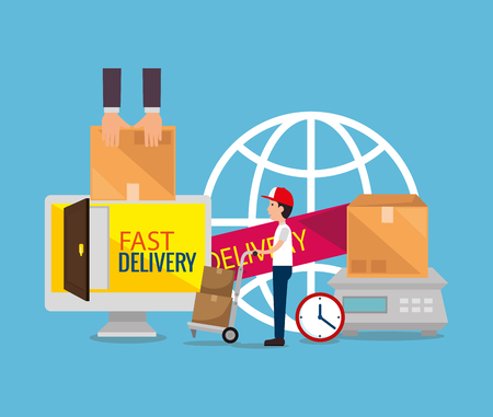 delivery service worker with computer vector illustration design Illustration