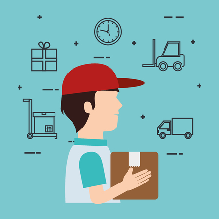 delivery service worker character with set icons vector illustration design