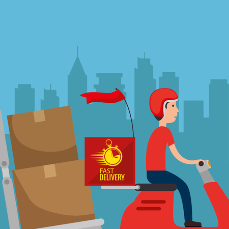 delivery service worker character vector illustration design