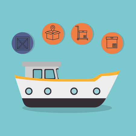 cargo ship with delivery service icons vector illustration design