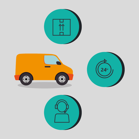 van with delivery service icons vector illustration design Illustration