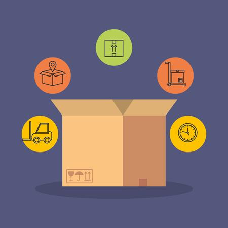 scatola con disegno di illustrazione vettoriale icone di servizio di consegna Vettoriali