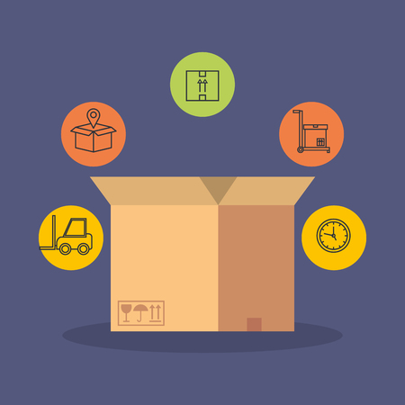 box with delivery service icons vector illustration design
