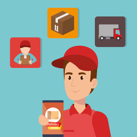 delivery service worker character with set icons vector illustration design Illustration