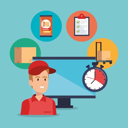 lavoratore di servizio di consegna con disegno di illustrazione vettoriale computer Vettoriali