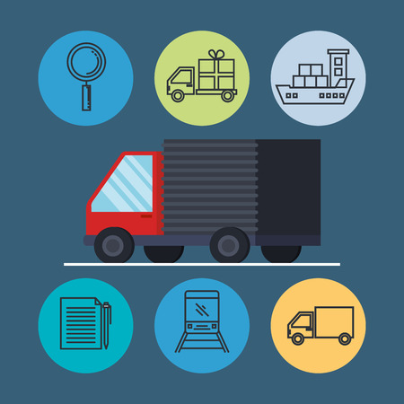 truck with delivery service icons vector illustration design
