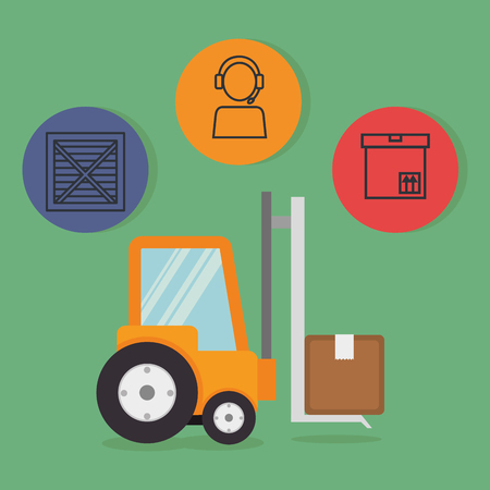 forklift with delivery service icons vector illustration design