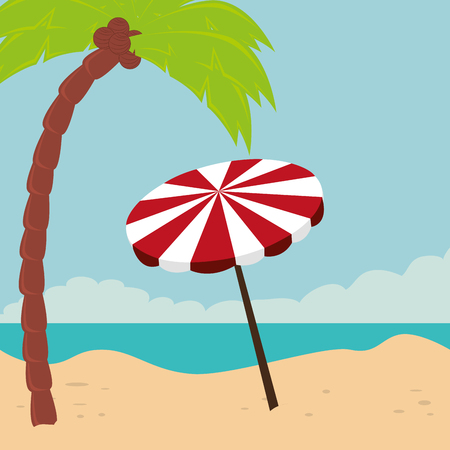 beach landscape with umbrella scene vector illustration design Archivio Fotografico - 109739035