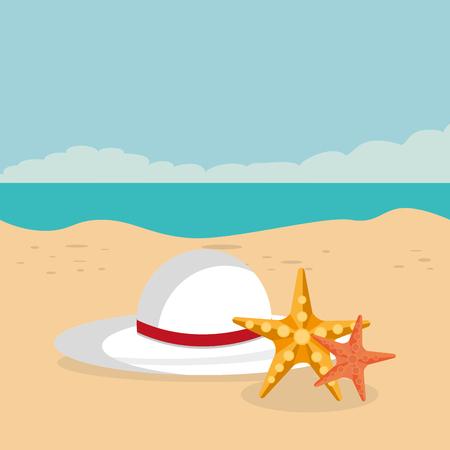 beach landscape with female hat scene vector illustration design 向量圖像