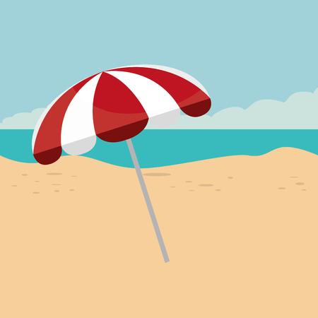beach landscape with umbrella scene vector illustration design Illustration