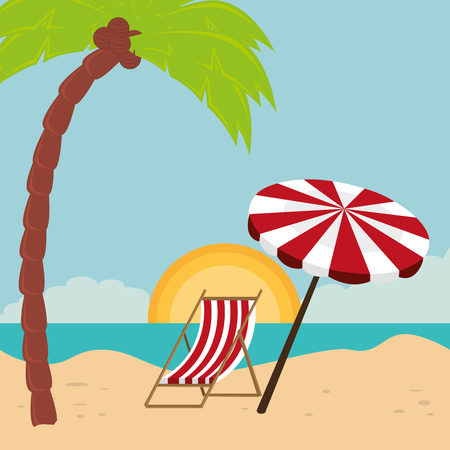beach landscape with chair and umbrella scene vector illustration design Illustration