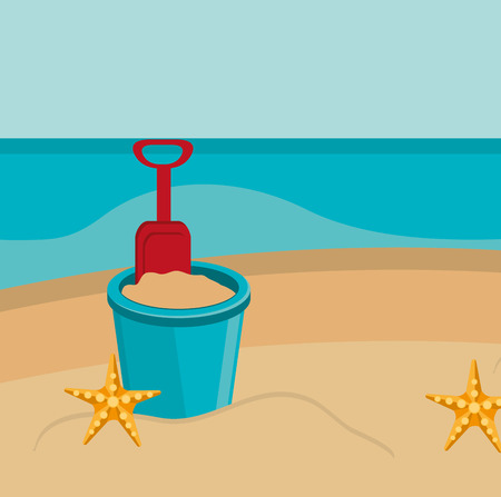 beach landscape with sand bucket scene vector illustration design Stock Illustratie