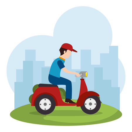 delivery worker in motorcycle vector illustration design Illustration