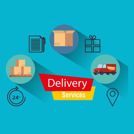 servizio di consegna imposta icone illustrazione vettoriale design