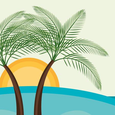 beach landscape with trees palms scene vector illustration design