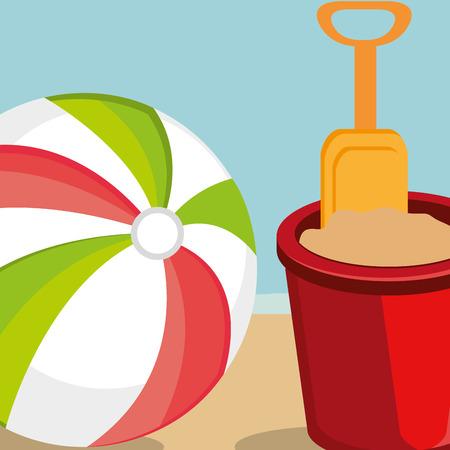paysage de plage avec ballon en plastique scène vector illustration design