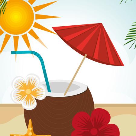 beach landscape with coconut cocktail scene vector illustration design