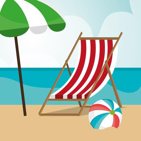 beach landscape with chair and umbrella scene vector illustration design Vector Illustratie