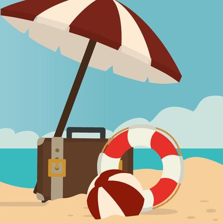 beach landscape with umbrella and suitcase vector illustration design Illustration
