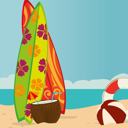 beach landscape with surf boards scene vector illustration design  イラスト・ベクター素材