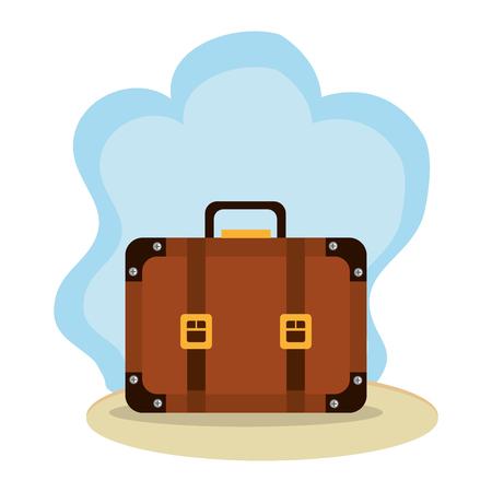 beach landscape with suitcase vector illustration design